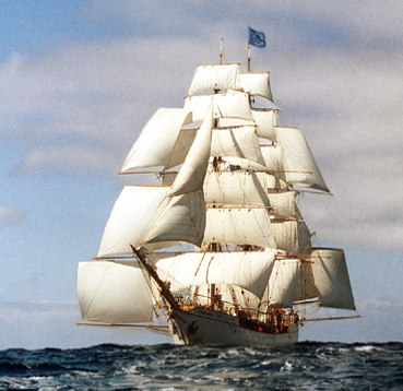 A Bark or Barque sailing in light winds.